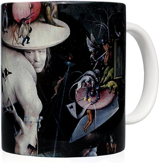 """We Love Art Taza mug Desayuno de cerámica Blanca 32 cl. con impresión de Obra de Arte Cuadro """"El jardín de Las delicias"""" Autor El Bosco: Amazon.es: Hogar"""