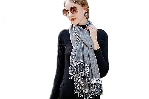 Mujer Color Sólido Bufanda Chales Estolas Wrap Con Borlas Y Encaje(Gris)