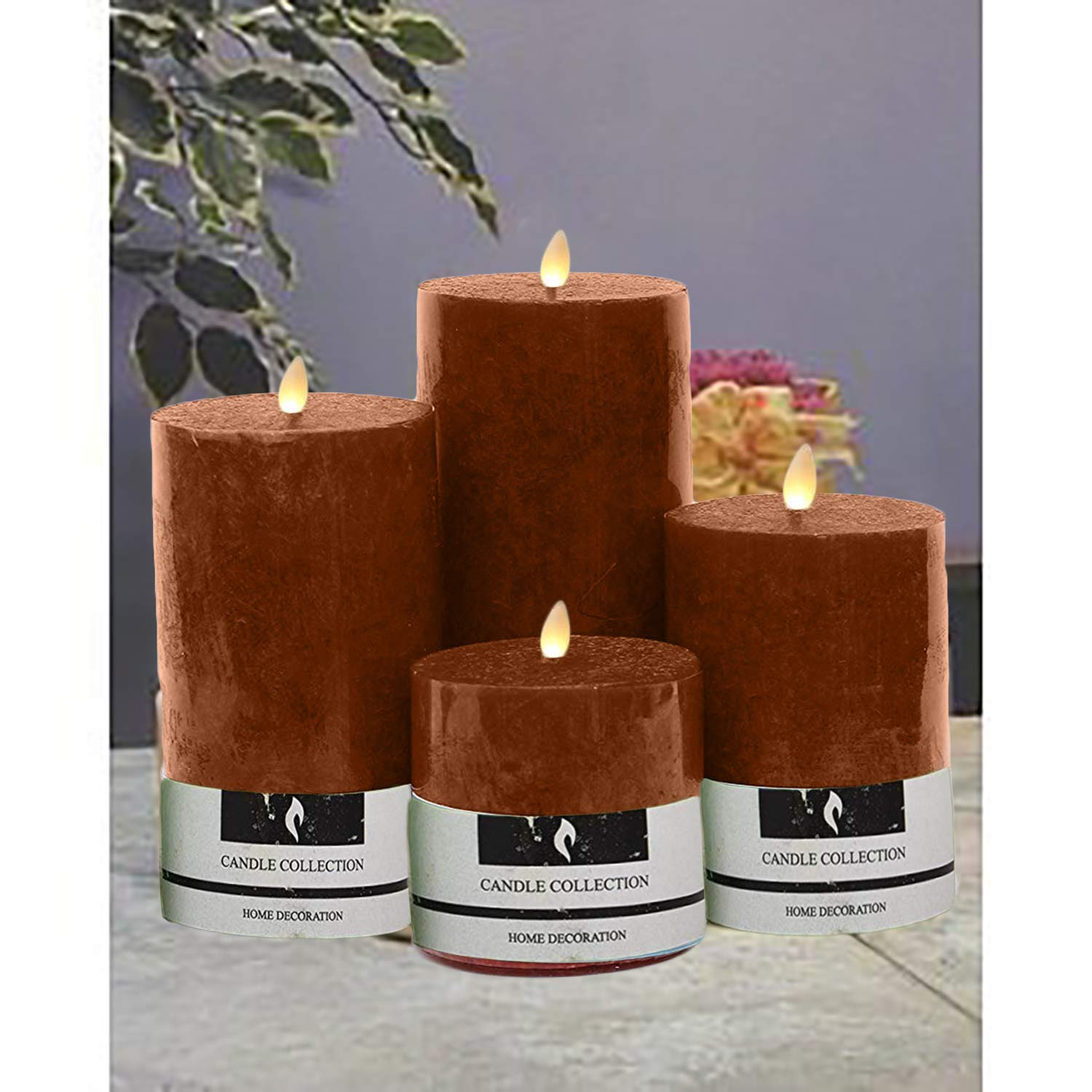 Marigold Stores Decorative Aromatic Coffee Scented Candles/Pillar Candles/Candle Set Size 4.5''X2'', 3.5''X2'', 3''X 2'' and 2''X2''. - Set of 4 by Marigold Stores