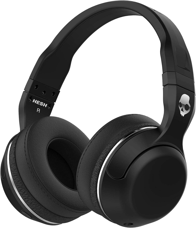 Auriculares Skullcandy Hesh 2 Over-Ear Bluetooth Inalámbricos con Micrófono Integrado, Supreme Sound y Bajos Potentes, 15 Horas de Batería Recargable, Almohadillas de Cuero Sintético Suave, Negro