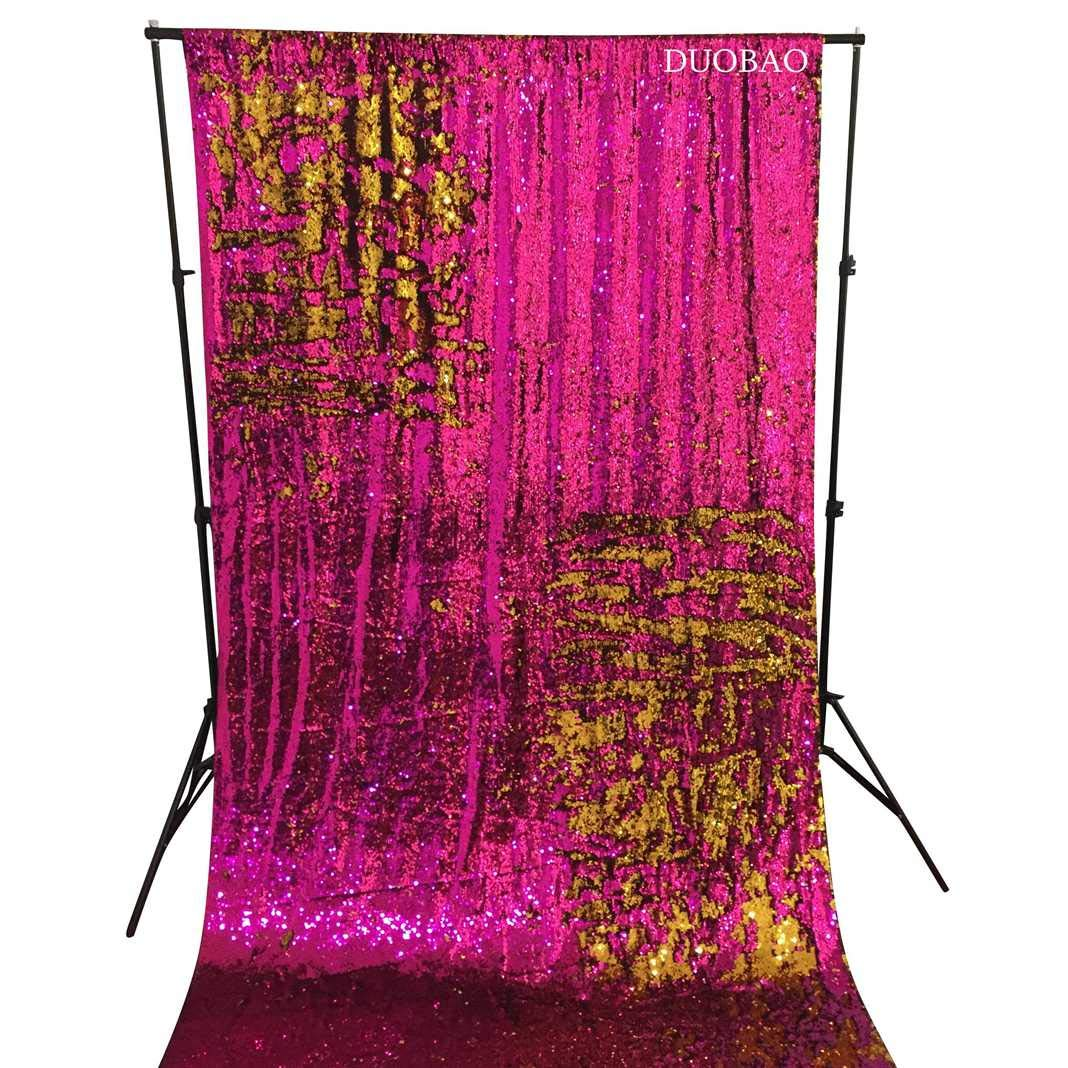 DUOBAO Sequin Backdrop 8Ft Fuchsia to Gold Mermaid Sequin Backdrop Fabric 6FTx8FT Two Tone Sequin Curtains