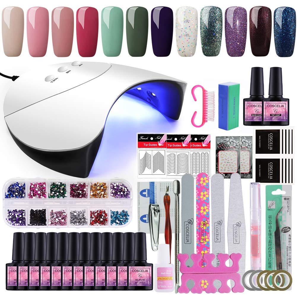 Saint-Acior 36W Secador de Uñ as LED Lá mpara con Temporizadores de 60, 90 y 120 Segundos 10pcs Esmalte Semipermanente Topcoat Base Coat Manicura Kit