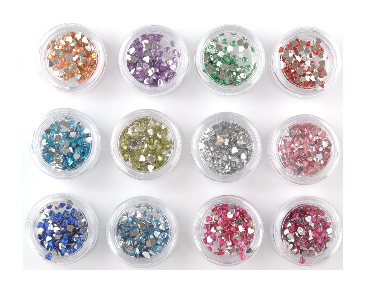 Stella Cosmetic Beauty Nail 12 Different Colors Rhinestones Heart Shape Decoration Kit