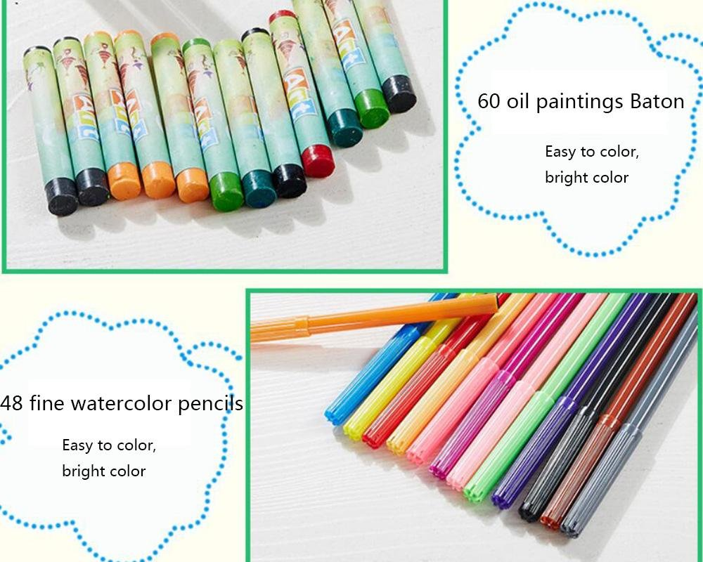 LLZJ Art Drawing Sets Children 288 Pcs Student School Coloured Design Brush Gifts Professional Supplies Stationery Creative Pencils Painting Kids Watercolor Pen, black by LLZJ (Image #6)