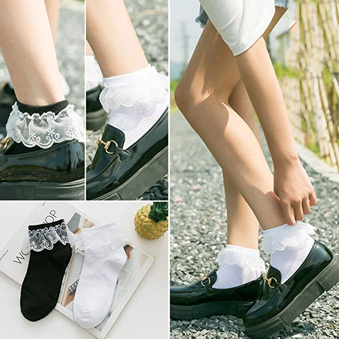 Amazon.com: Cute Lace Silk Socks Kawaii Divertidos Socks Women Girls Calcetines,Black Socks: Clothing