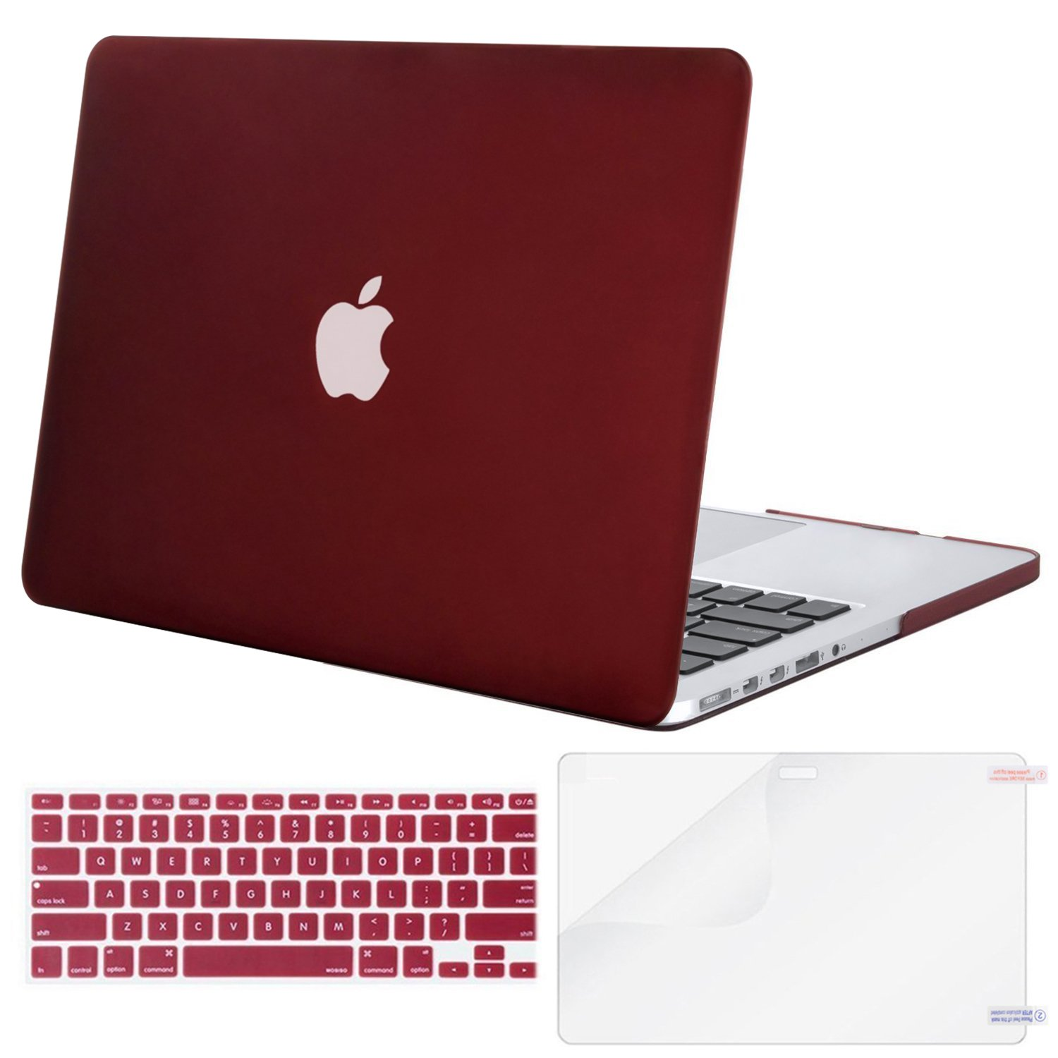 MOSISO Plastic Hard Case with Keyboard Cover with Screen Protector Only Compatible MacBook Pro (No USB-C) Retina 13 Inch (W/O CD-ROM)(A1502/A1425), Release 2015/2014/2013/end 2012, Marsala Red