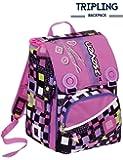 Zaino scuola triplicabile SEVEN - BUNDLE GIRL - Nero Rosa - estensibile - 31 LT - elementari e medie inserti rifrangenti