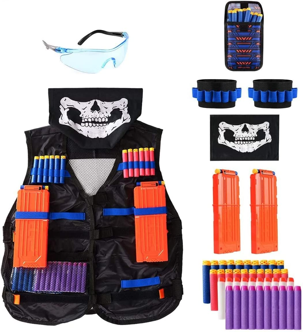 Locisne Kids Jungle Camouflage Tactical Vest Jacket Kit para Nerf Toy Gun N-Strike Elite Series(con 40 Dardos de Espuma+Gafas+máscara+2 Clip Recarga rápida+2 Pulsera de 8 Dardos+Bolsa Dardos)