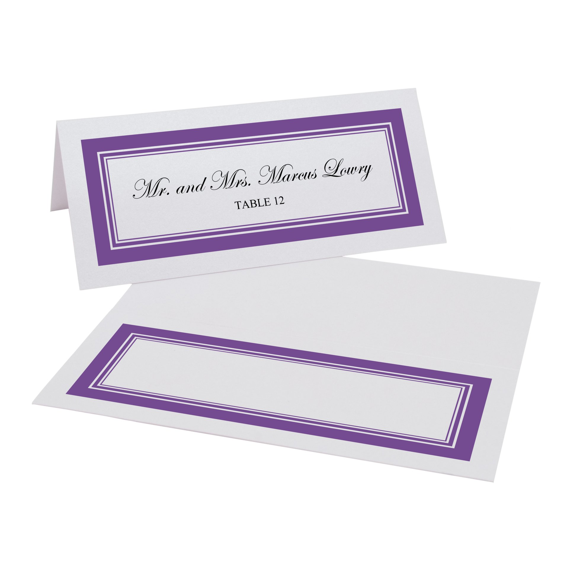 Triple Line Border Easy Print Place Cards, Pearl White, Purple, Set of 300 (75 Sheets) by Documents and Designs