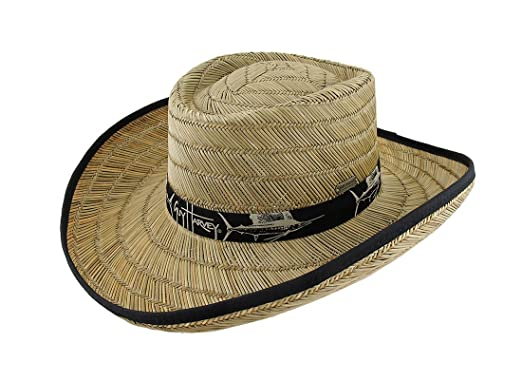 ec8baa3193b7e Amazon.com  Guy Harvey Wide Brim Straw Gambler Hat w Black Band and ...