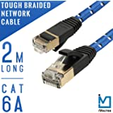 iVoltaa Braided LAN Cable 2 Mtr Cat 6a RJ-45 Snag-less Tough Network Ethernet LAN Cable 10 Gbps (500 Mhz) with Gold Plated Metal Connectors (Blue)