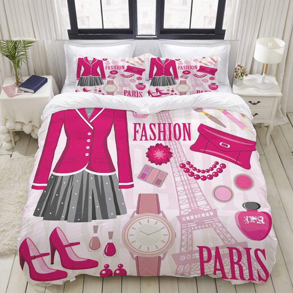 VANKINE 3PC Bedding Set Girls Fashion in Paris Dresses Print 1 Duvet Cover with 2 Matching Pillowcases Dorm Room Decor Twin/Twin XL