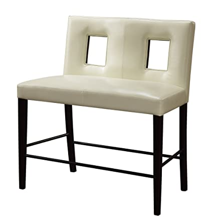 Amazing Amazon Com Global Furniture Bar Bench With Beige Cushion Theyellowbook Wood Chair Design Ideas Theyellowbookinfo
