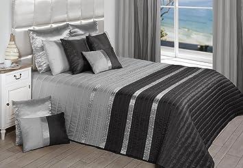 couvre lit gris PLUME [Couvre Lit] en Polyester (250x260cm, Gris) (SANS COUSSINS  couvre lit gris