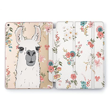 8d1d3be79f Wonder Wild New iPad Case Pro 9.7 inch Mini 1 2 3 4 Air 2 10.5 12.9 Llama  Wildflower Pattern Apple Smart Cover Clear Protective Pink Flowers 4th 5th  6th ...