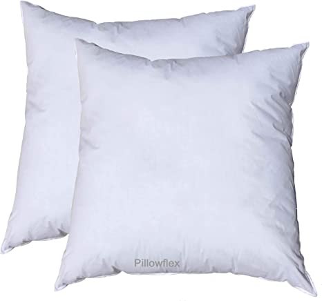 pillowflex set of 2 14x14 pillow form inserts premium polyester filled machine washable square throw made in usa