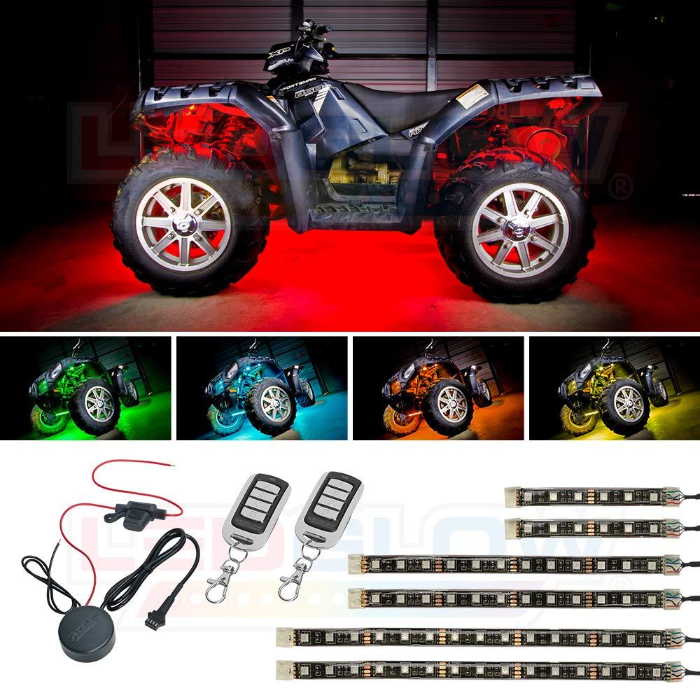 LEDGlow 6pc Advanced Million Color LED Flexible ATV Quad Lighting Strip Kit - 66 LEDs - Waterproof Control Box - 2 Wireless Remotes