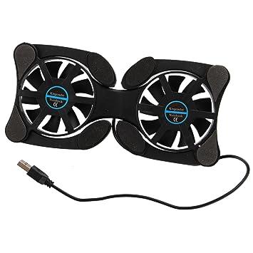 Almohadilla de enfriador - SODIAL(R)USB 2.0 Almohadilla de enfriador de ordenador portatil externo Refrigerador de ordenador portatil 2 ventiladores Negro: ...