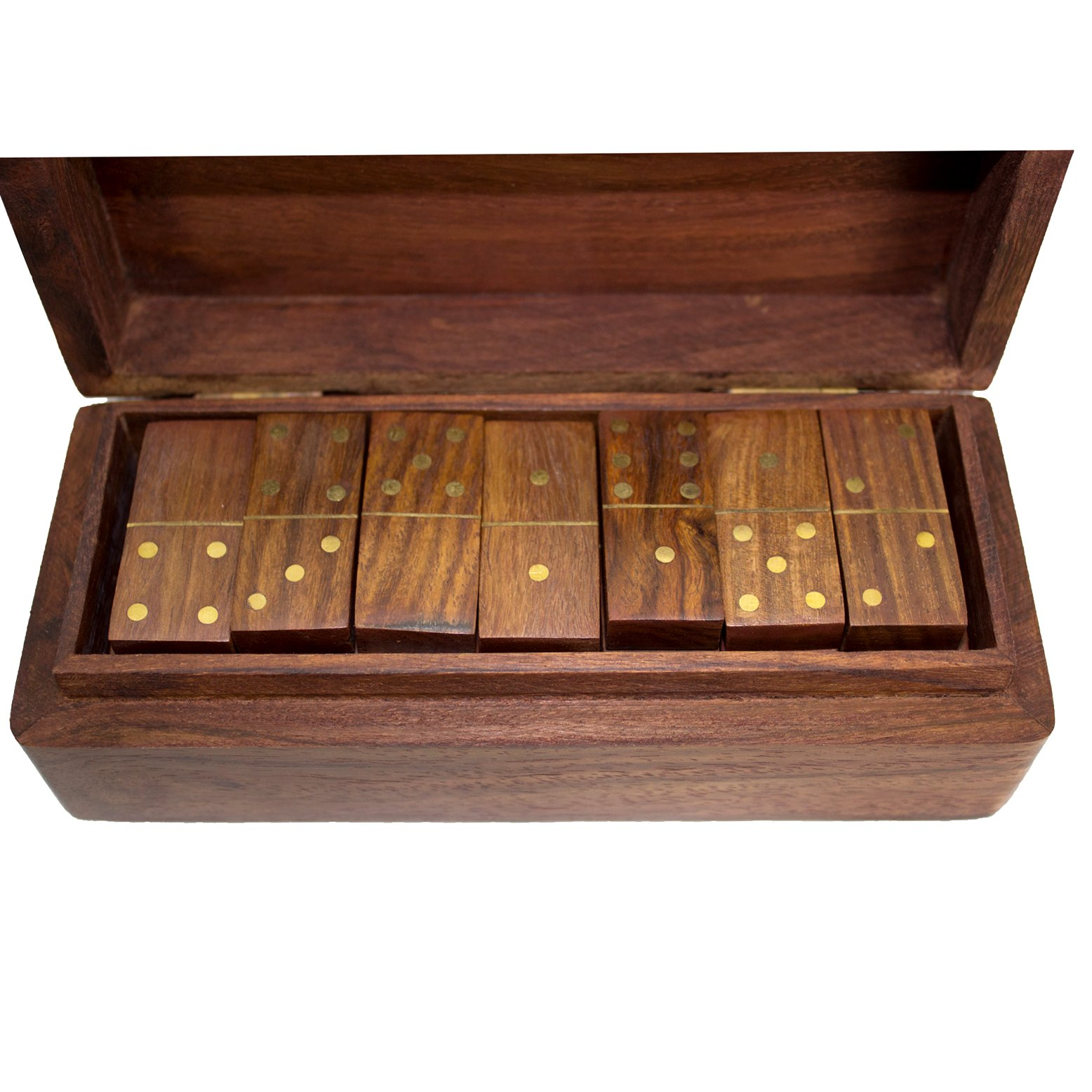 Dominoes Set Wooden Vintage Box Game Travel Domino Traditional 28pc Urban Home
