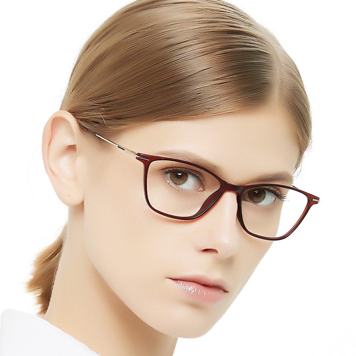 Eyewear Frames-OCCI CHIARI-Rectangle Lightweight Non-Prescription Eyeglasses Frame with Clear Lenses For Womens 52mm … OG-BUSI-C1