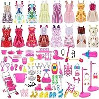 ASANMU 130 Pezzi Vestiti Barbie e Accessori, Barbie Abito Gonna Moda Scarpe Barbie Oggetto Domestico Rosa Grucce per Barbie Accessori per della Ragazza Compleanno Regalo Natale Il Giorno dei Bambini