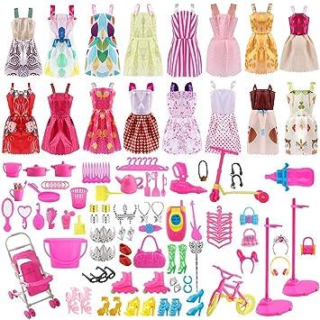 ASANMU 130 Pezzi Vestiti e Accessori per Bambole Dolls, Abito per Dolls Gonna Moda Scarpe Oggetto Rosa Grucce per Bambole Dolls Accessori per della