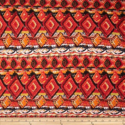 Viva Hatchi Sweater Knit Tribal Rust Fabric