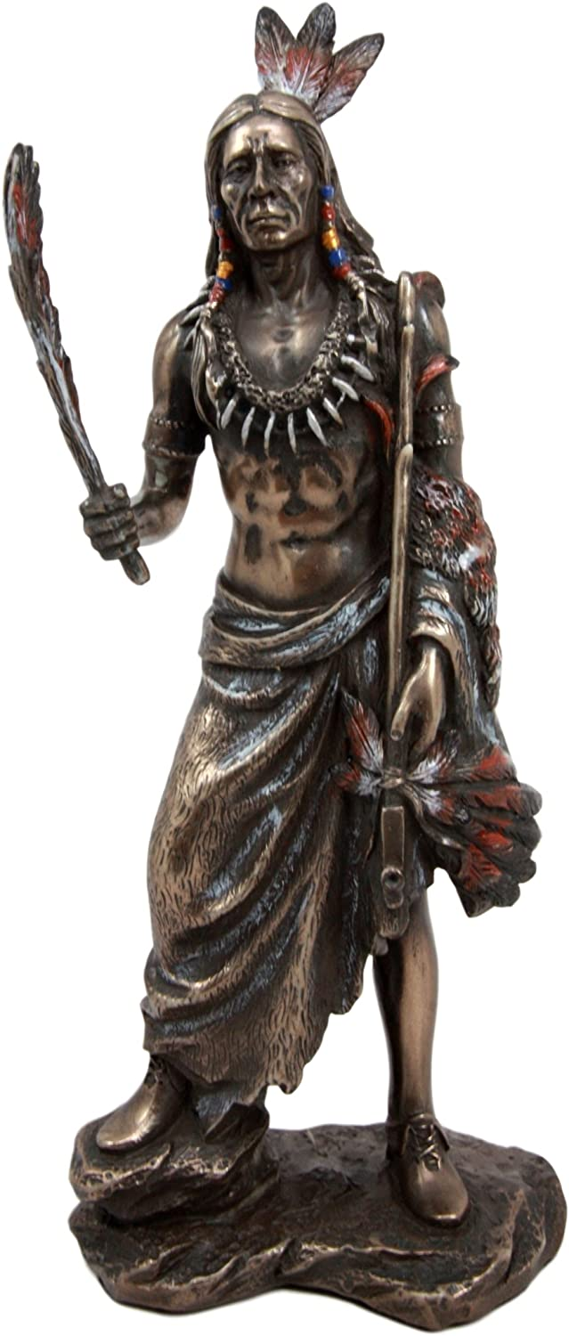 Ebros Native American Indian Eagle Warrior with Feather and Ceremonial Peace Pipe Decorative Figurine 8.75