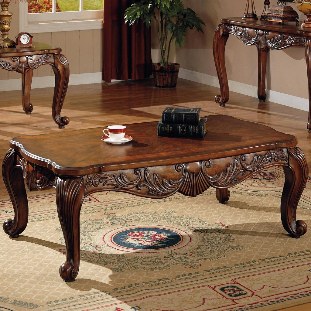 Amazon Com Coaster Home Furnishings 700468 Traditional Coffee Table Brown Kitchen Dining