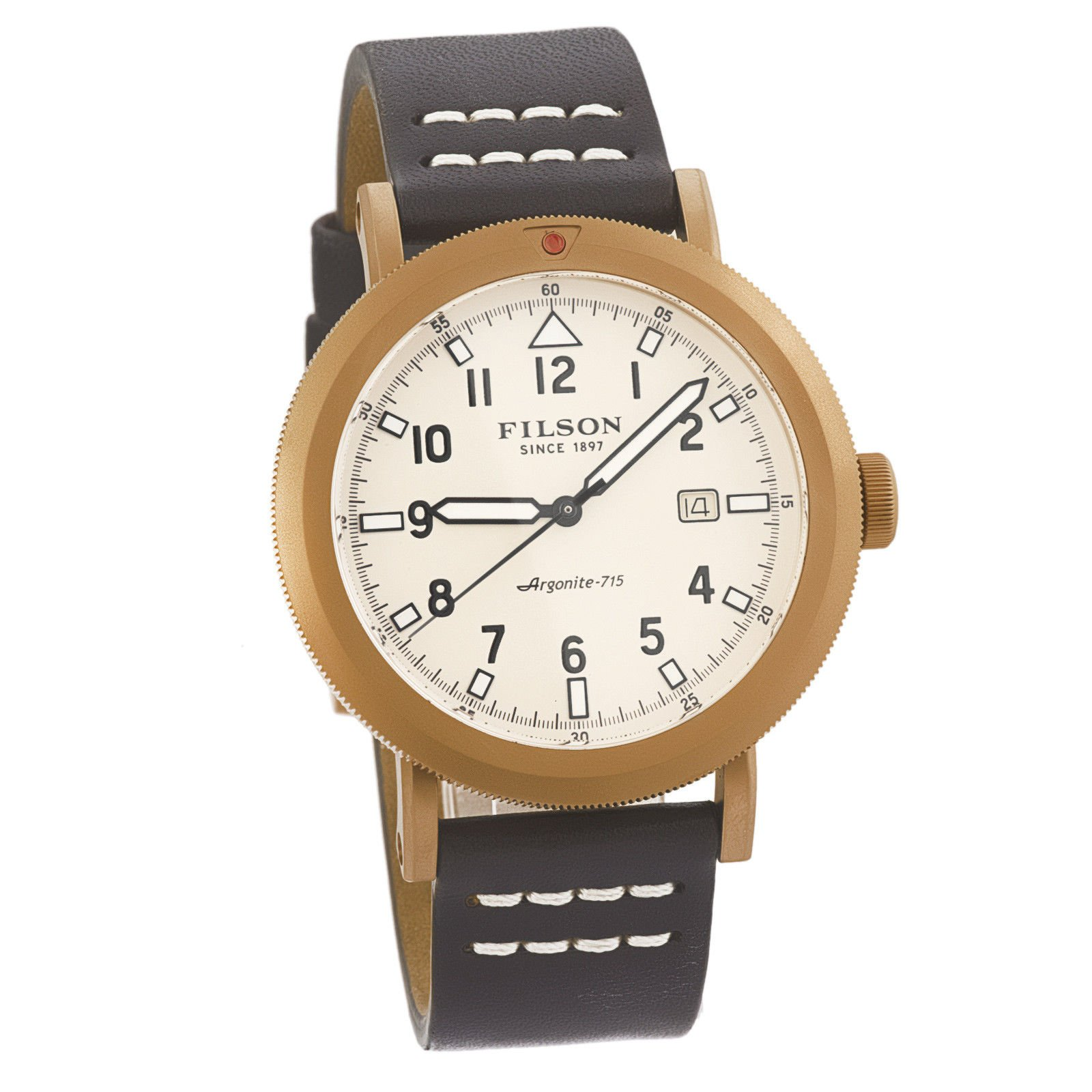 Filson Scout Brown Leather Strap Rose Gold PVD Brass Case Men's Watch