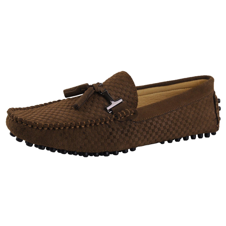Santimon Men's Leather Driving Walking Moccasins Loafer Shoes Woven Tassel Pendant