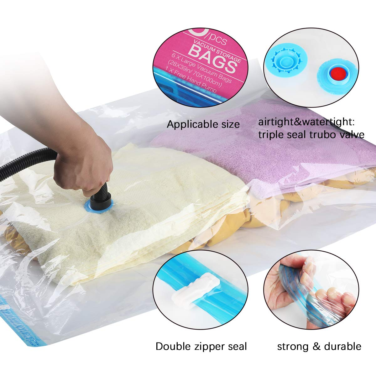 Velarnet Premium Vacuum Storage Bags 6 Pack 6 x Jumbo Space Saver Storage Bags for Travel Travel Hand Pump Included Durable and Reusable