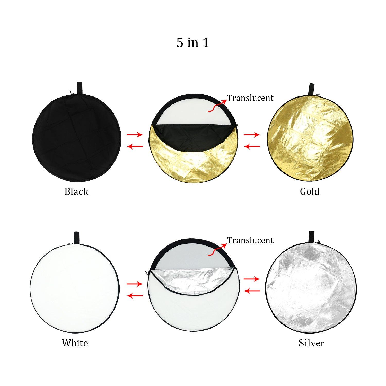 ESDDI 55cm 5 en 1 Reflectores Fotografia Professional Reflector de luz Plegable de Discos múltiples, Color Negro, Oro, Plata, Transparente, ...