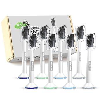 geckone Cepillo de dientes de cepillo compatible con bambú carbón activo para mejor Limpieza, compatible con Philips Sonicare, paquete de 8: Amazon.es: ...