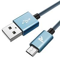 Câble Micro USB Chargeur Samsung [2m/6.5ft] Rampow - GARANTIE A VIE - Charge/Synchro Rapide - Câble USB Nylon en Filet 2.4A pour Samsung S7/S6, Wiko, Sony, LG, Honor, Huawei, Kindle, Xbox, Smartphone et Plus Encore - Bleu Ciel