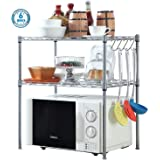 Voroly 2-Tier Space Saving Height Adjustable Kitchen Microwave Oven Dish Organizer Racks Shelf with 6 Hooks - Steel
