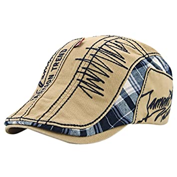 ea100223edd Amazon.com   Unisex Retro Alphabet Embroidery Stitching Lattice Sun Berets  Duckbill Cap Hat for Daily Wear Beach Hiking Camping Traveling Beige    Beauty