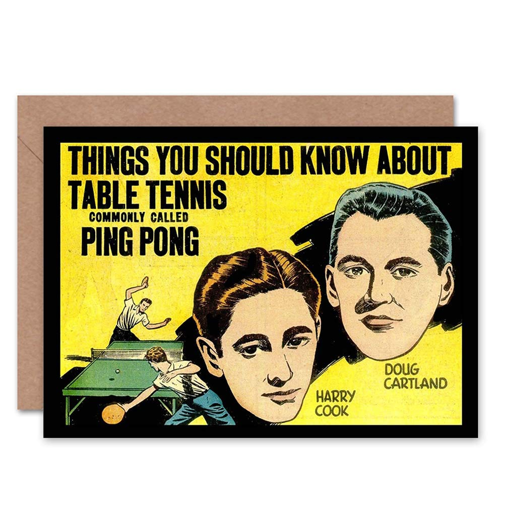 Wee Blue Coo SPORT BOOK COVER TABLE TENNIS PING PONG 1937 NEW BLANK GREETINGS CARD