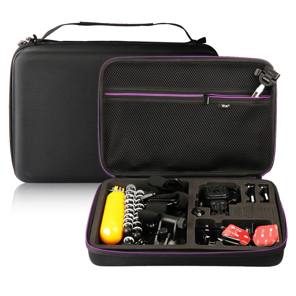 Soyan Large Carrying Case for GoPro Hero 6/5/4/3+/3/2/1 Sports Action Camera and Accessories (Black and Purple) Soyan Technology MB006-2