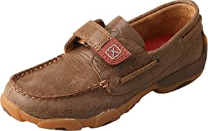 Twisted X Unisex Handcrafted Leather Driving Moc Boat Shoe for Toddler/Little Kid