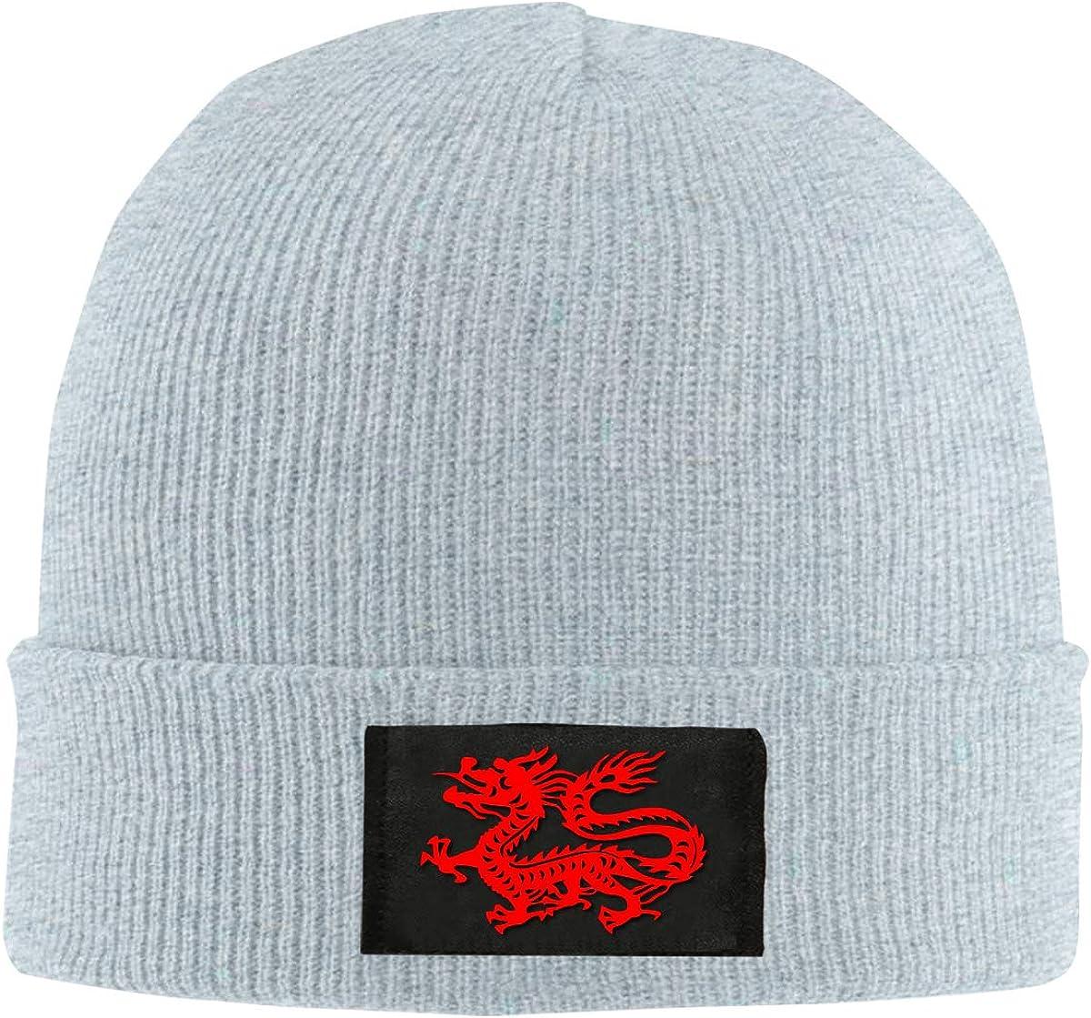 Men Women Hinese Magic Dragon Skull Hat Beanie Cap Winter Knit Hat Cap
