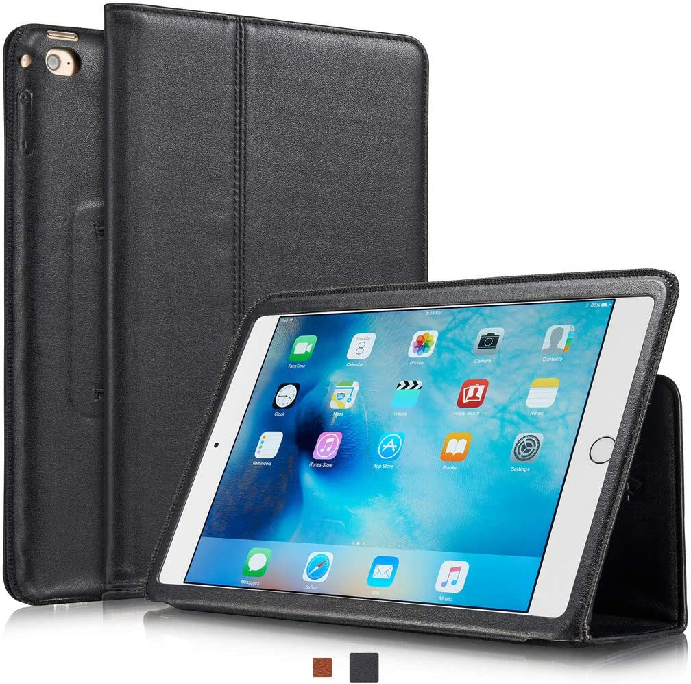 KAVAJ iPad Mini 5 2019 & 4 Case Leather Cover Berlin Black for Apple iPad Mini 5 2019 & 4 Genuine Cowhide Leather with Built-in Stand Auto Wake/Sleep Function. Slim Fit Smart Folio Covers