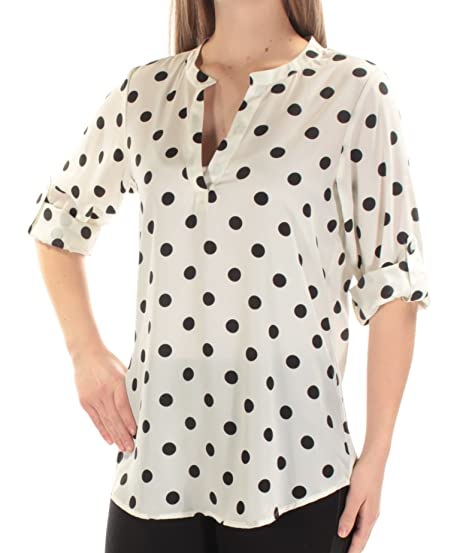 8b265ef310 Maison Jules Women s Polka-Dot Roll-Tab Blouse at Amazon Women s Clothing  store