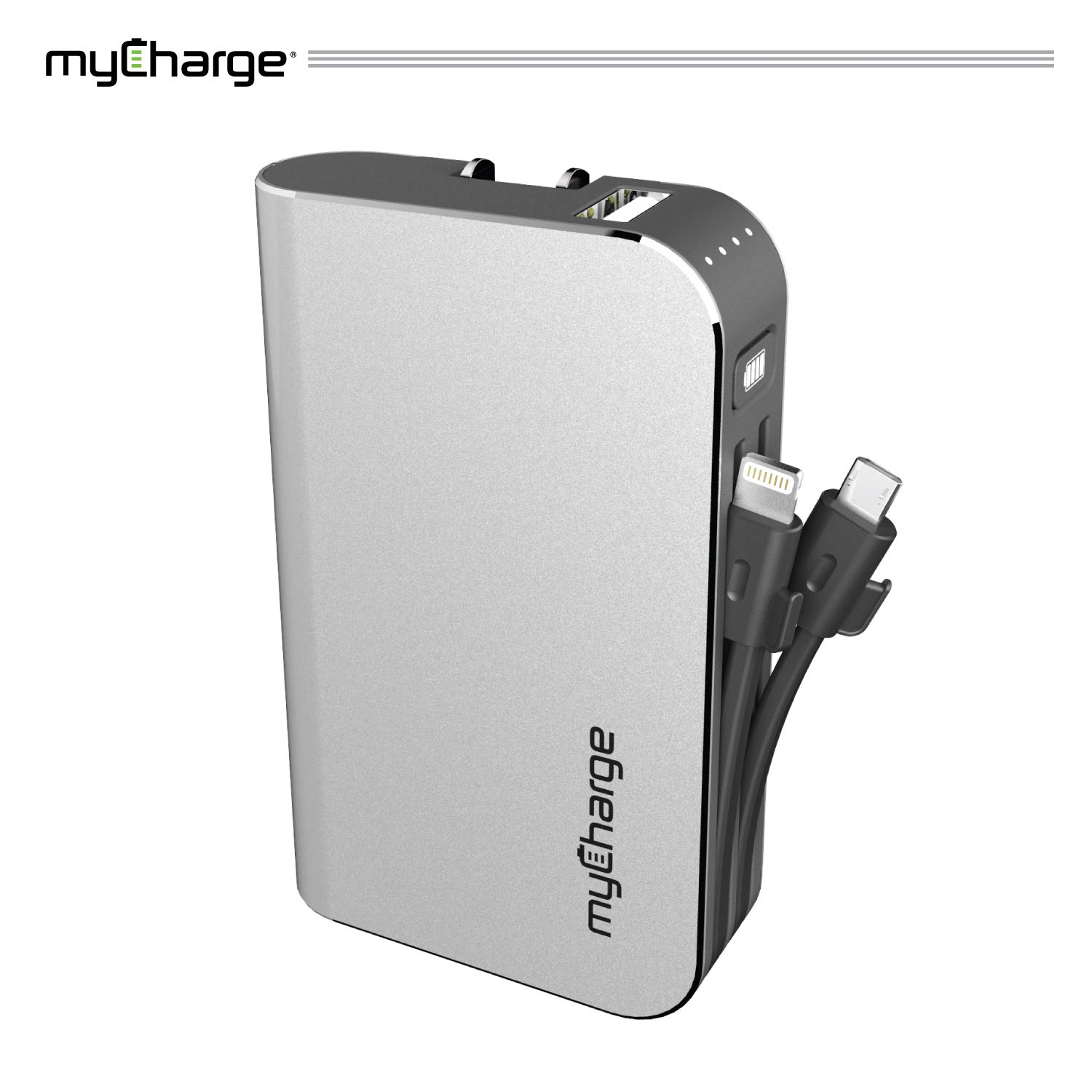 myCharge Portable Charger Power Bank - HubPlus 6700 mAh External Battery Pack | Wall Charger Foldable Plug | Built in Cables (Apple iPhone Charger Lightning Cable and Android Samsung Micro USB Cable by myCharge