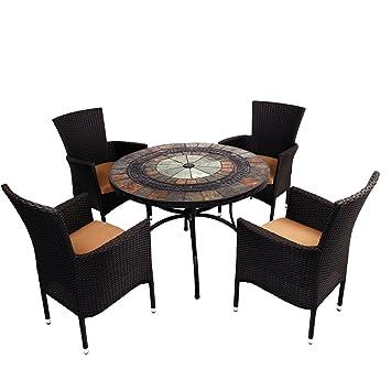 Amazon.de: Europa Stein ZE/0alcrs-04stkc Alcira Terrasse Tisch mit 4 ...