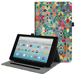 Fintie Case for All-New Amazon Fire HD 10 (Compatible with 7th and 9th Generations, 2017 and 2019 Releases) - [Multi-Angle Viewing] Folio Stand Cover with Pocket Auto Wake/Sleep, Bohemian Ledge