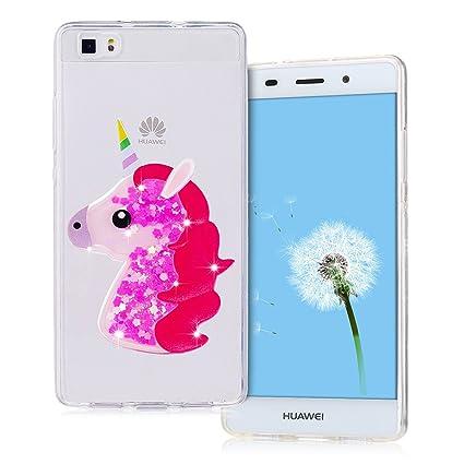 Funda Huawei P8 Lite, SpiritSun P8 Lite Carcasa Funda Trasparente Silicona Funda en 3D Bling Bling Glitter Líquido Ultra Delgado y Ligero Goma ...