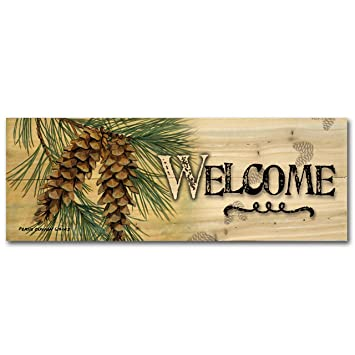 Amazon.com : WGI-GALLERY 124 Welcome Pine Cone Wooden Wall Art ...
