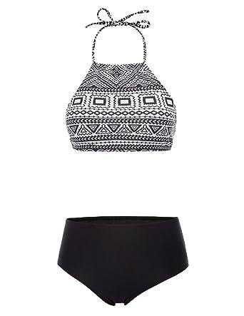 88d56da595 Amazon.com: Zexxxy Women Halter Bikini Set Beach Swimwear Printing Bathing  Suit ZE0184: Clothing