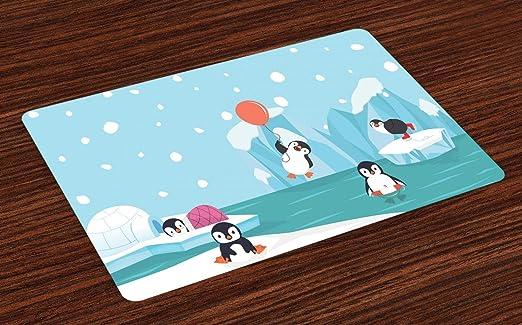 ABAKUHAUS Polo Norte Salvamantel Set de 4 Unidades, Pingüinos en ...